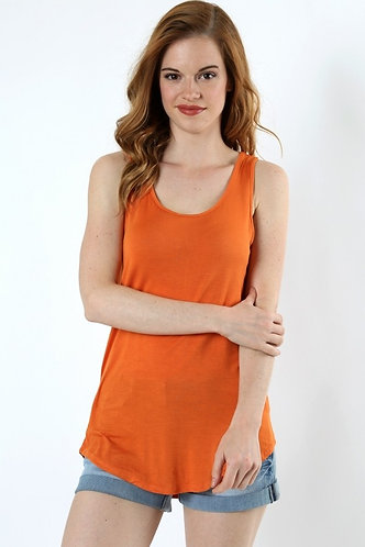 Scoop Neck Tank-Tangerine