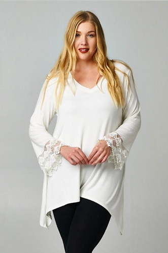 Ivory V-Neck Top with Lace Sleeves-PLUS