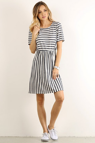 Striped Short Sleeve Grey and White Dress
