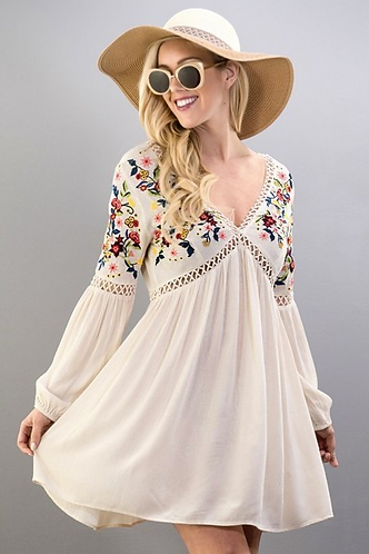 V-Neck Embroidered Boho Dress