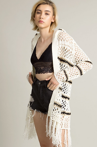 Long Sleeve Knitted Cardigan with Hoodie