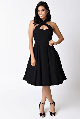 1950s Style Black Rita Halter Flare Dress