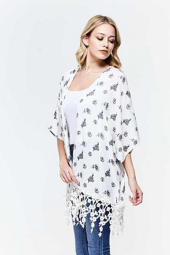 Crepon Print Kimono