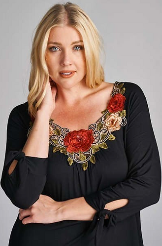 3/4 Sleeve Knit with Embroidered Flower Patch