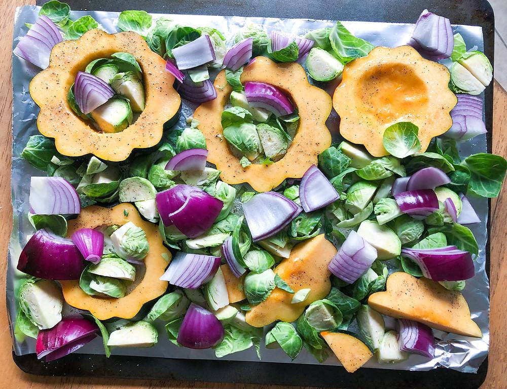 Fall Sheet Pan Veggies Acorn Squash Brussel Srpouts Red Onion