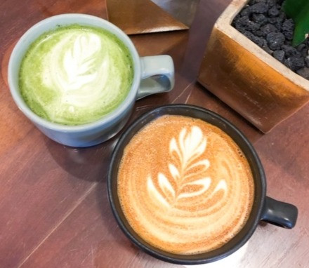 matcha blueberry latte oat milk vanilla coffee cafe hollywood coffee expowest