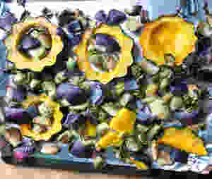 Roasted acorn squash and brussel sprouts