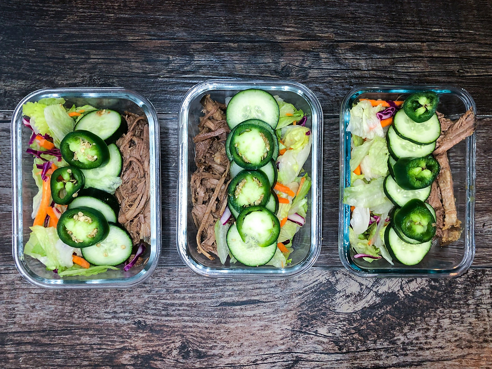 Meal prepped bahn mi bowls vietnamese inspired shredded beef quick pickle meal containers