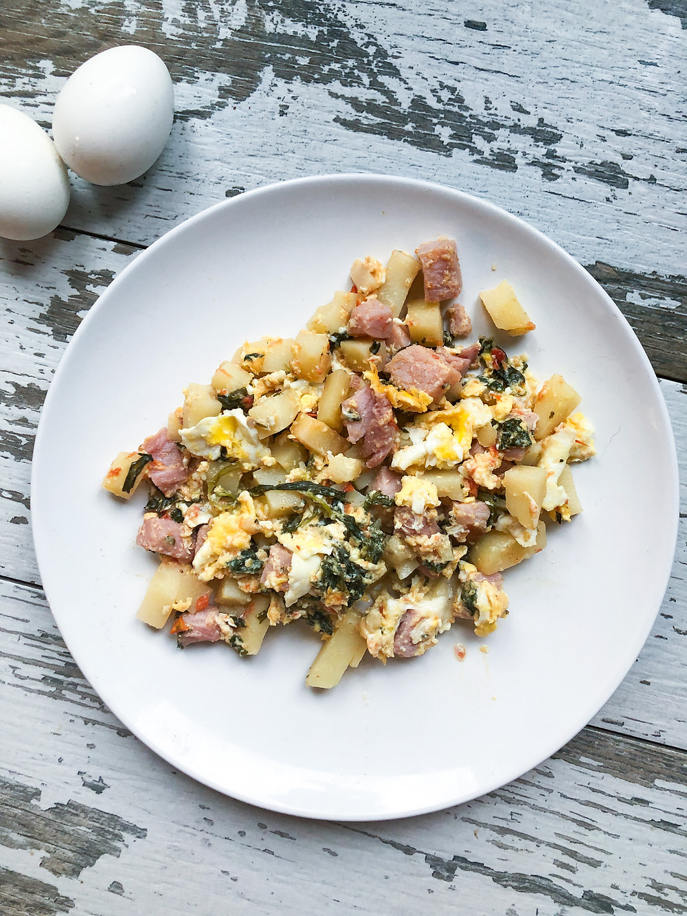 scrambler healthy breakfast ham veggies eggs