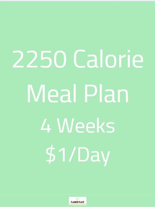 4 Week Meal Plan - 2250 Calories