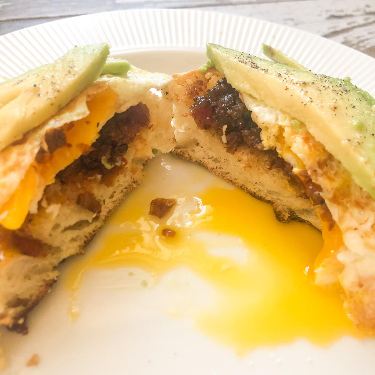 Bacon Jam breakfast sandwich avocado toast