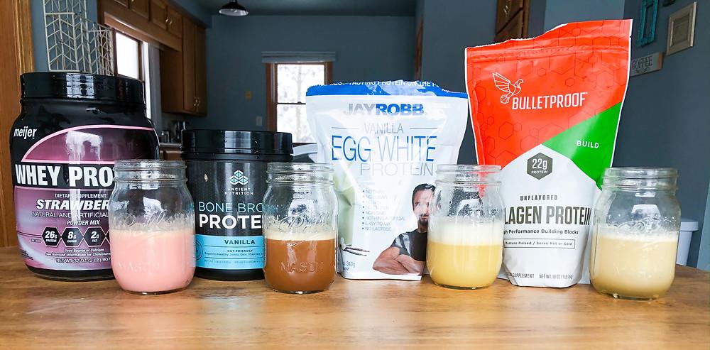 animal proteins shakes protein powder sources whey bone broth egg white collagen