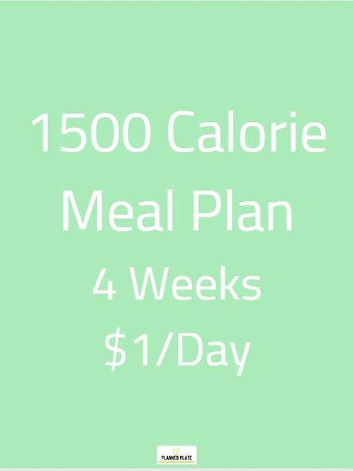 4 Week Meal Plan - 1500 Calories