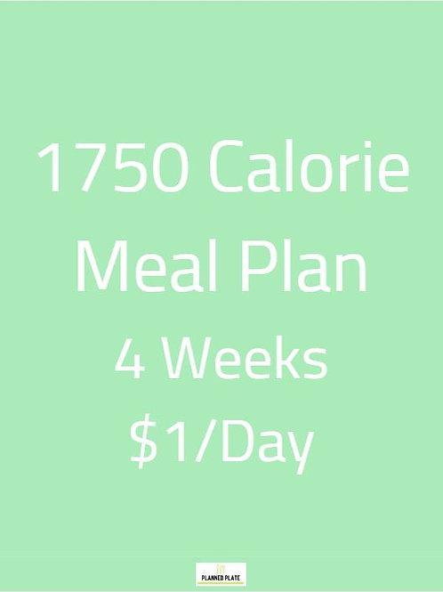 4 Week Meal Plan - 1750 Calories