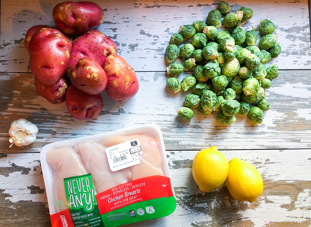 ingredients raw red potatoes brussel sprouts chicken lemon garlic one pan sheet