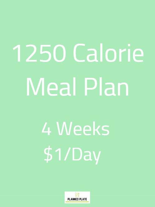 4 Week Meal Plan - 1250 Calories