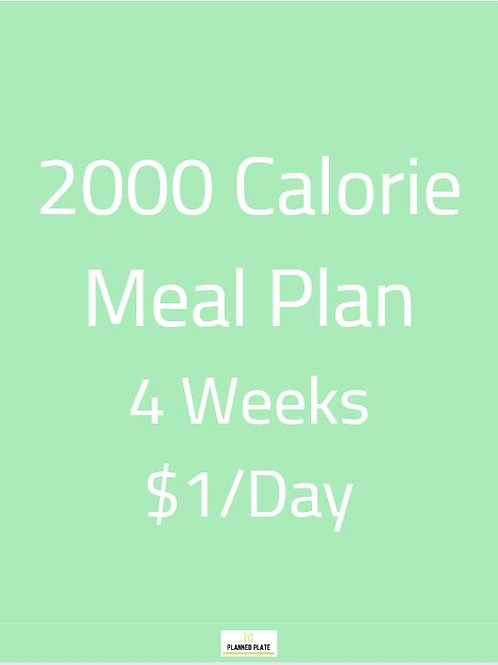 4 Week Meal Plan - 2000 Calories