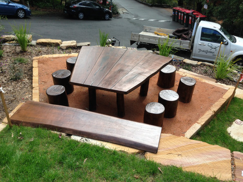 Timber bench and log seats