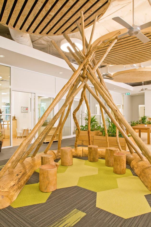 Branch teepee with log base