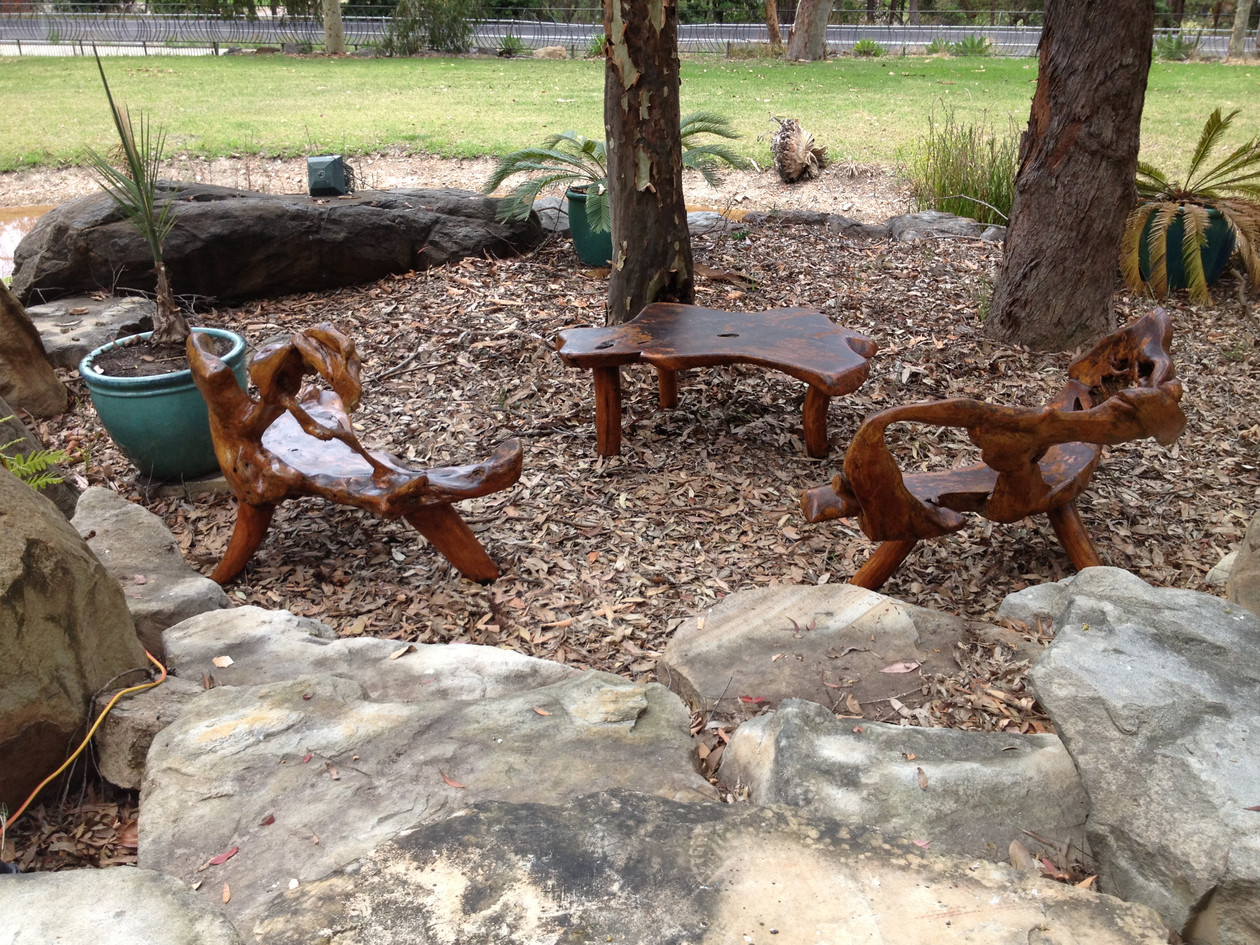 natural edge timber seats and table
