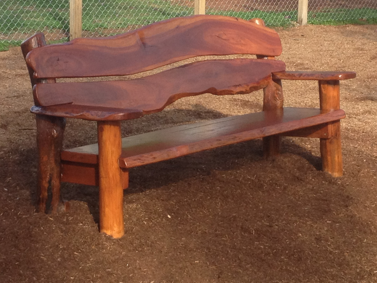 Natural edge bench at Gunnedah