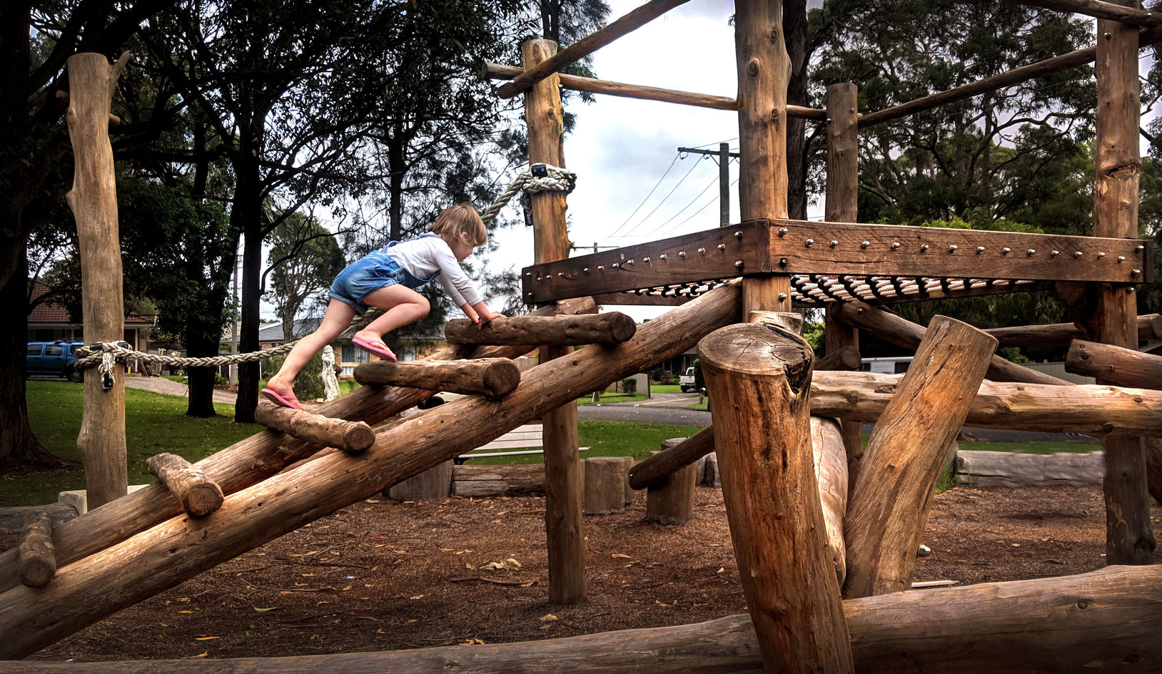Child playing on climber