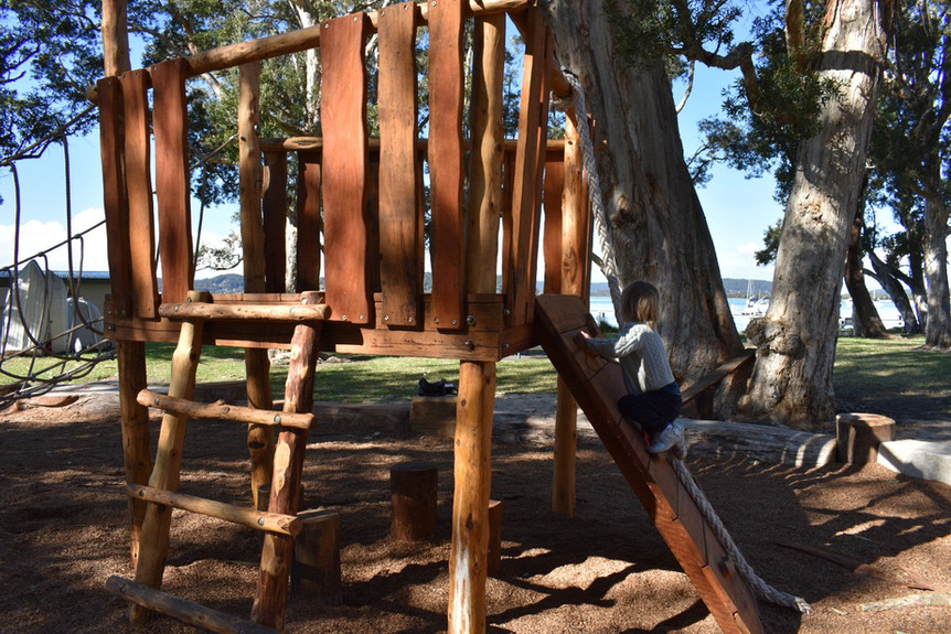 Timber Cubby with rope bridge