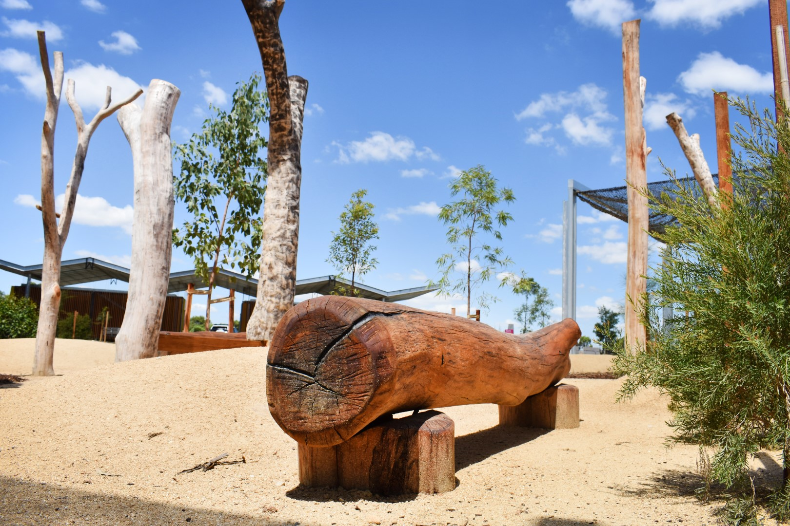 Log Seat and Tree Sculptures