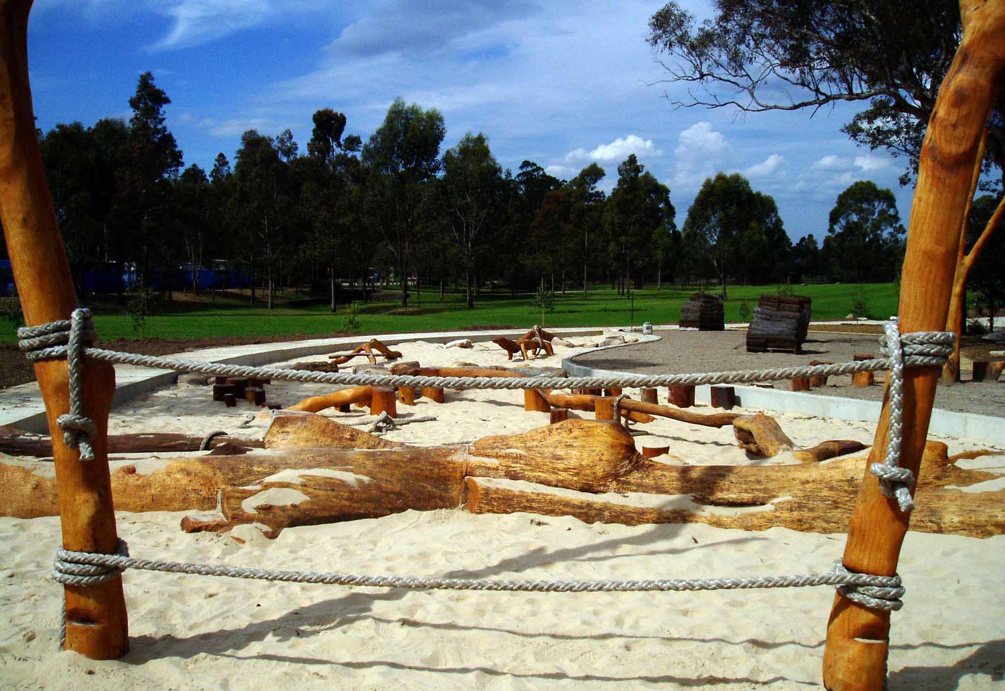 Rope climb and log playground