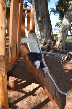 Child climbing a robe climb