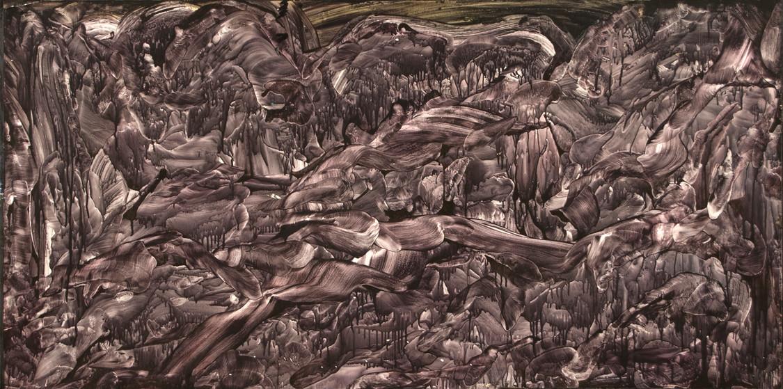 Van Goyen Dream, acrylic on canvas, 48x24, 2017