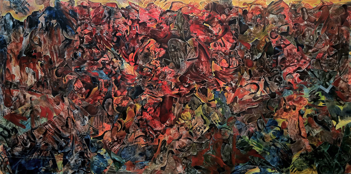 Inferno Fragment II, oil mosaic on canvas, 48x96, 2013