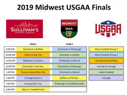 2019 Midwest USGAA Finals Schedule