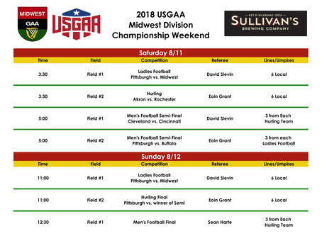 2018 USGAA Midwest Division Championship Weekend Schedule