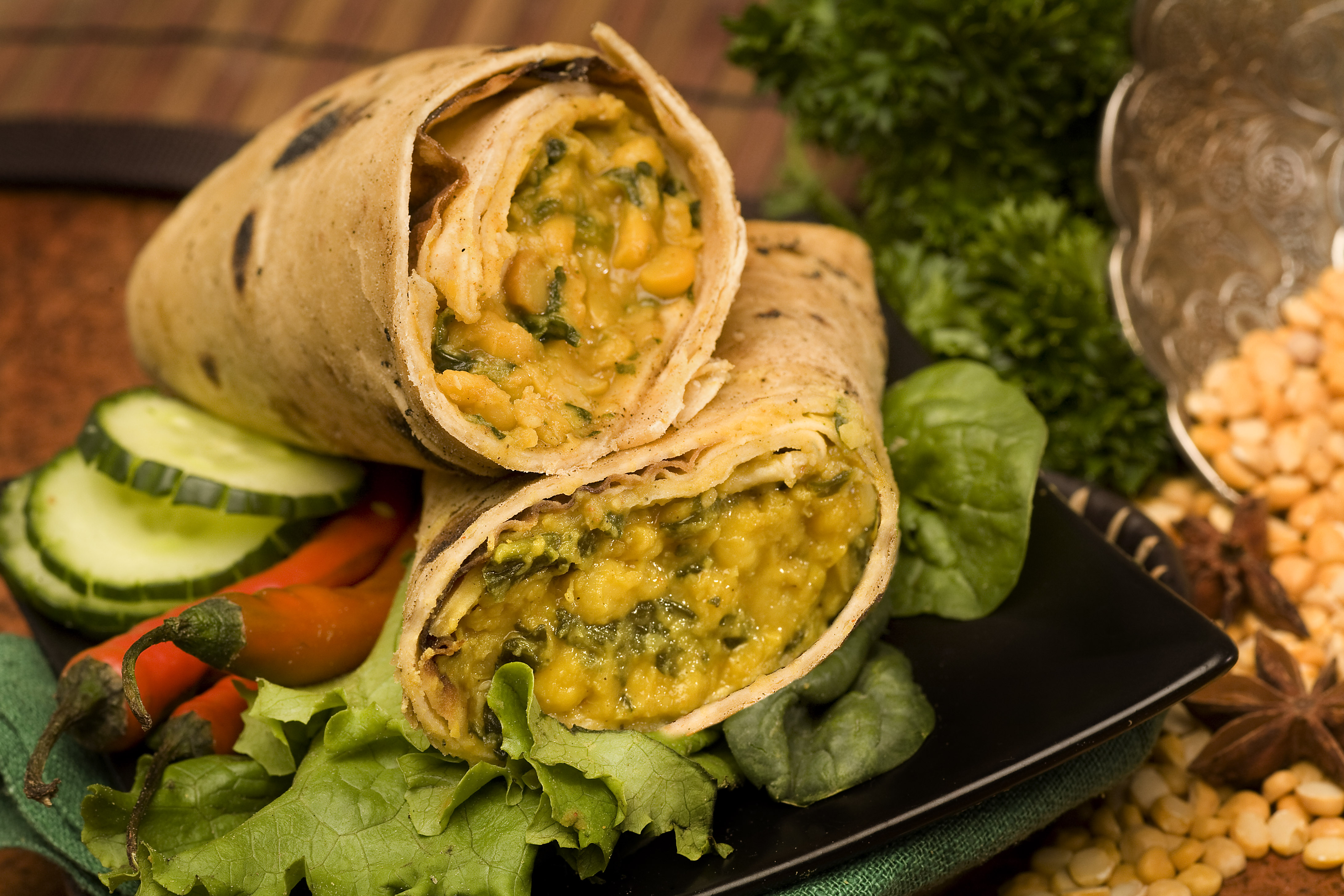Spinach & Lentil Roti Roll