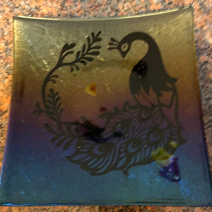 "Peacock Plate 10"" x 10"""