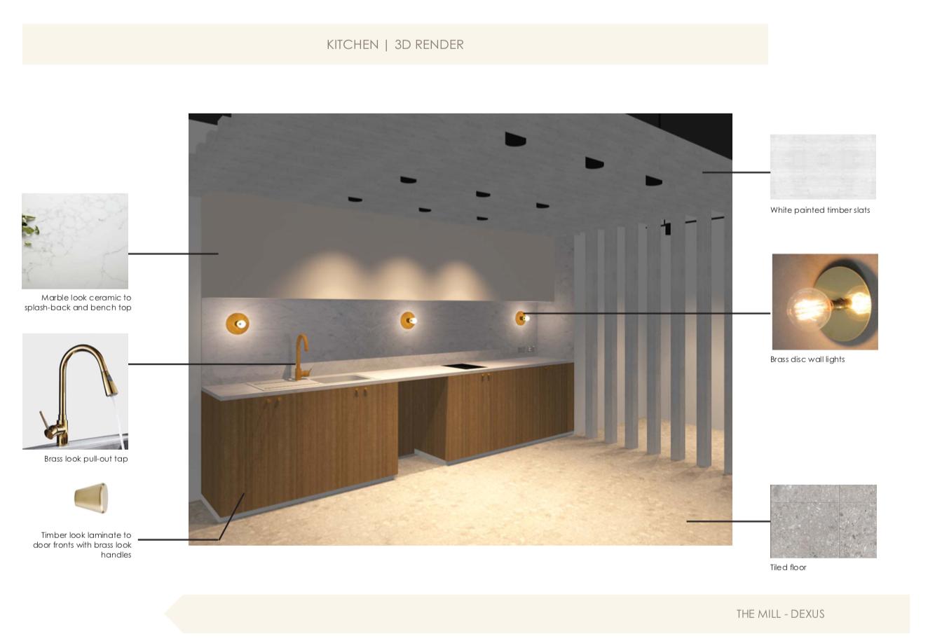 Office interior design kitchen 3d render