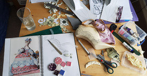 From 2-D creative mess to completed 3-D shoes