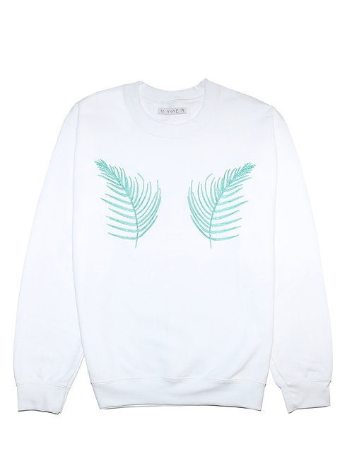 White Palm Embroidered Sweatshirt