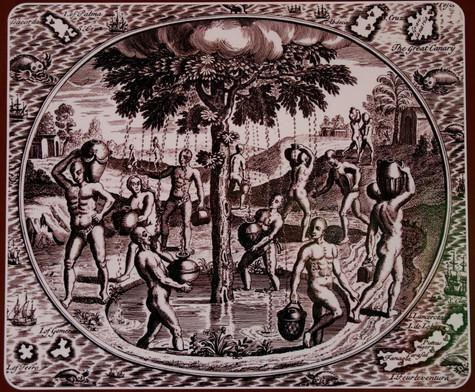 Représentation artistique des Guanches auprès du Garoé.