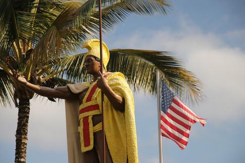 Statue du roi Kamehameha, le premier roi de l'archipel d'Hawaï. Hawi, North Kohala.