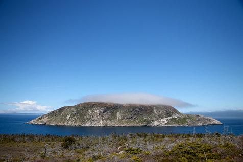 Le Grand Colombier, une autre île à quelques centaines de mètres de celle de St-Pierre, qui abrite de nombreuses espèces d'oiseaux.