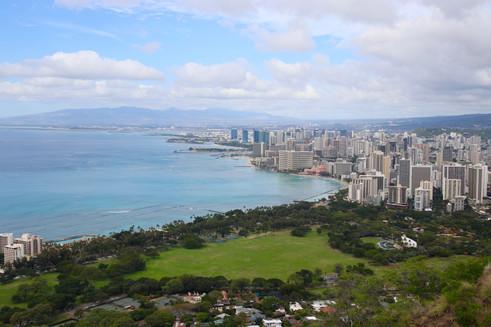 Honolulu, capitale d'Hawaï, depuis le sommet de Diamond Head. La plaine d'Honolulu était une vaste de zone de marais où les Polynésiens faisaient pousser du taro. Après l'arrivée des Européens, les champs de taro ont été remplacés successivement par des rizières, des champs des canne à sucre, d'ananas, puis d'immeubles.