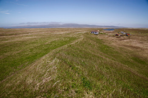 Les prairies de la Ferme de l'Ouest sur l'Isthme de Langlade.