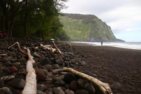 Vallée de Waipi'o. Le sable noir tire son origine du volcanisme très actif de Big Island.