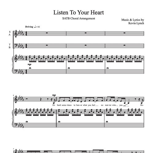 """""""Listen to Your Heart"""" for SATB - Sheet Music"""