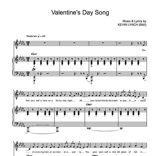 """Valentine's Day Song"" - Sheet Music"