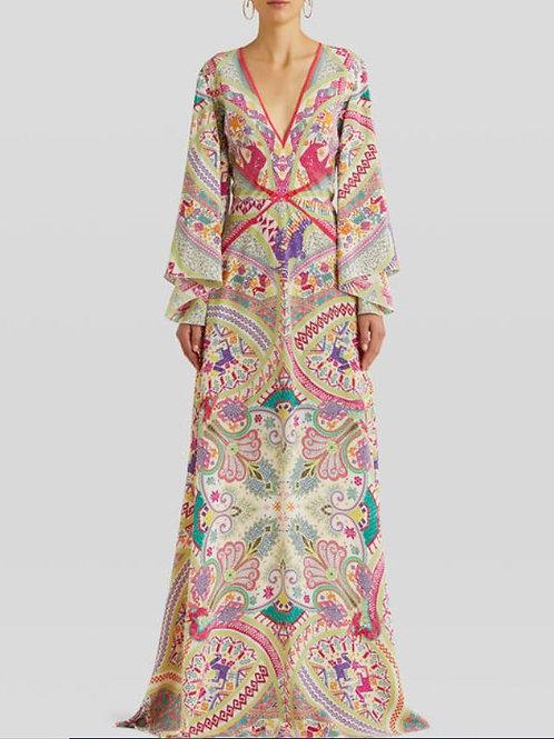 ETRO Robe longue en soie imprimé Paisley