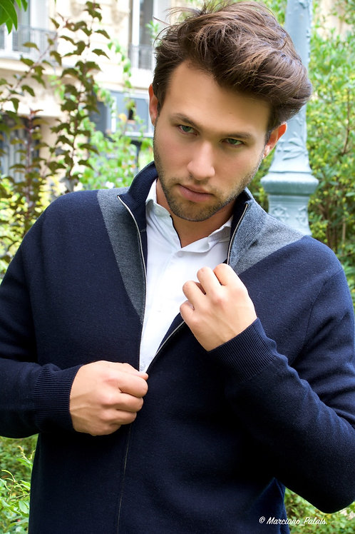 PAUL SMITH - CARDIGAN ZIPPÉ 100% LAINE