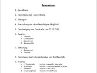 Jahreshauptversammlung (20.03.2020) wird verschoben
